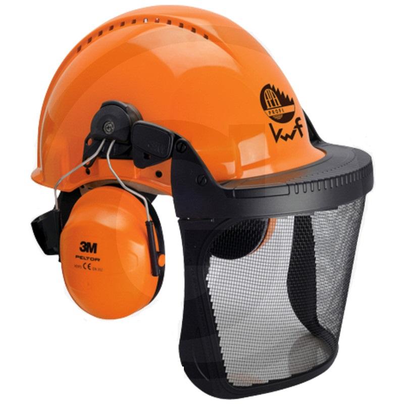 Fotografie Dřevorubecká helma Peltor G3000d UVICATOR v kombinaci se sluchátky a ochranným štítem