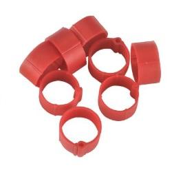 Fotografie Zámkové kroužky na slepice a kachny 16 mm červený 20 ks