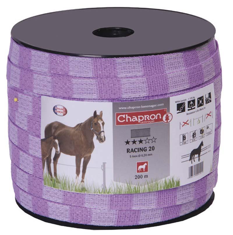 Fialová ohradníková páska Chapron Racing line 20mm/200 m odpor 4,56 Ohm/m